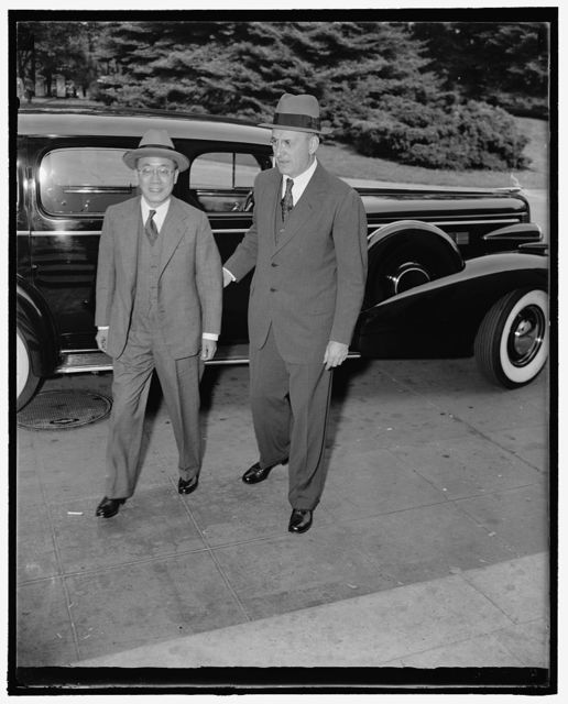 Advisor to Chinese Finance Minister White House visitor. Washington, D.C., Oct. 13. K.P. Chen, left; entering the White House today with Sec. of the Treasury Henry Morgenthau, Chen, is heading a special Chinese Financial Mission, which is in this country seeking to widen its current silver agreement with the Treasury to include a broad economic understanding embracing purchases of surplus American Farm Commodities and means of obtaining private credit because of continuation of the War with Japan, 10/13/38