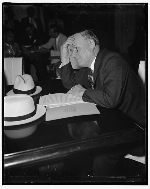 """A.F. of L. Pres. endorses Wage-and-Hour bill with reservations. Washington, D.C. June 4. Appearing before the Senate and House Labor Committees today, William Green, President of the American Federation of Labor, gave his limited support to the Black-Connery Wage-and-Hour Bill but at the same time emphasized that the A.F. of L. opposes """"general governement wage regulation for men in private industry"""" The objective of the Black-Connery bill is to curtail sweatshop conditions and the abolition of child labor, 6/4/37"""