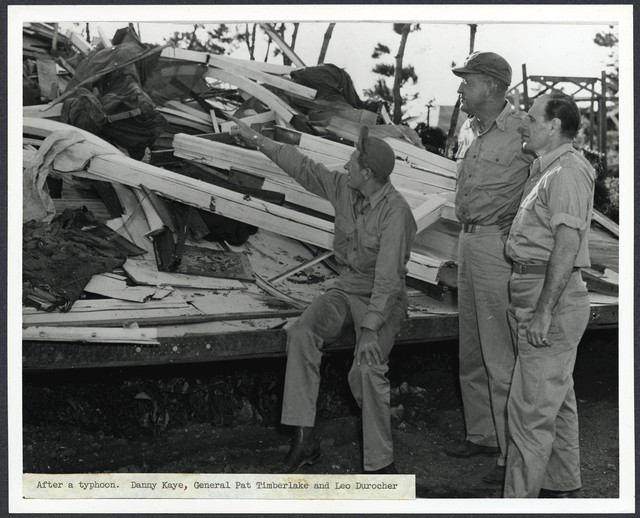 After a typhoon. Danny Kaye, General Pat Timberlake and Leo Durocher [in Okinawa], [1945]
