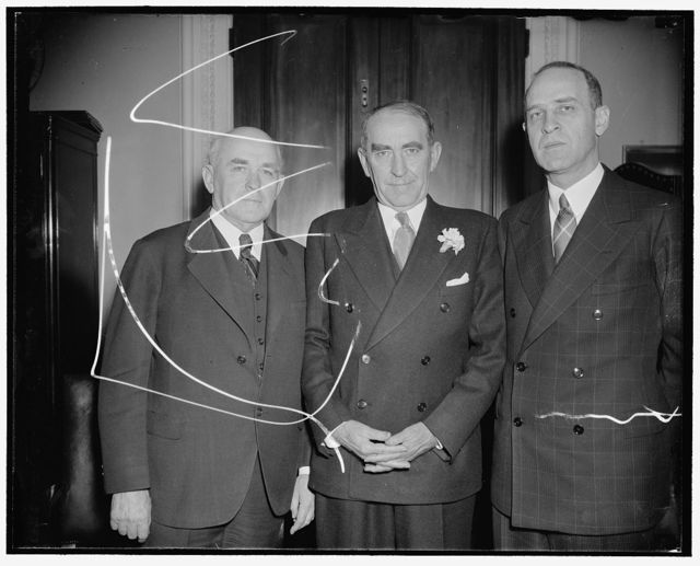 Alabama delegation made for Democratic digest. Left to right: Sen. John Bankhead; Speaker Bankhead; Sen. Lister Hill