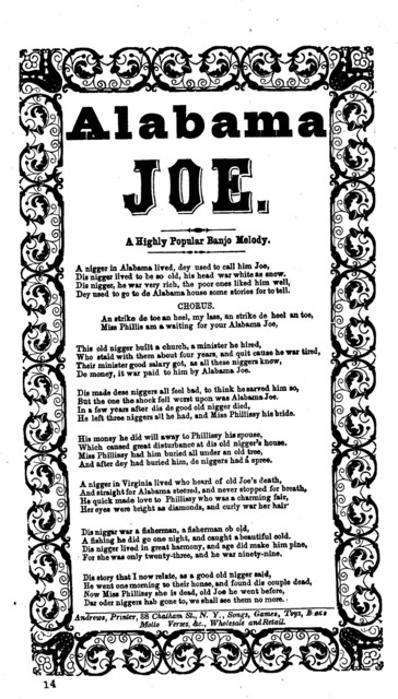 Alabama Joe. A highly popular banjo melody. Andrews, Printer, 38 Chatham St., N.Y., Songs, Toys,Books, Motto Verses, &c., Wholesale and Retail