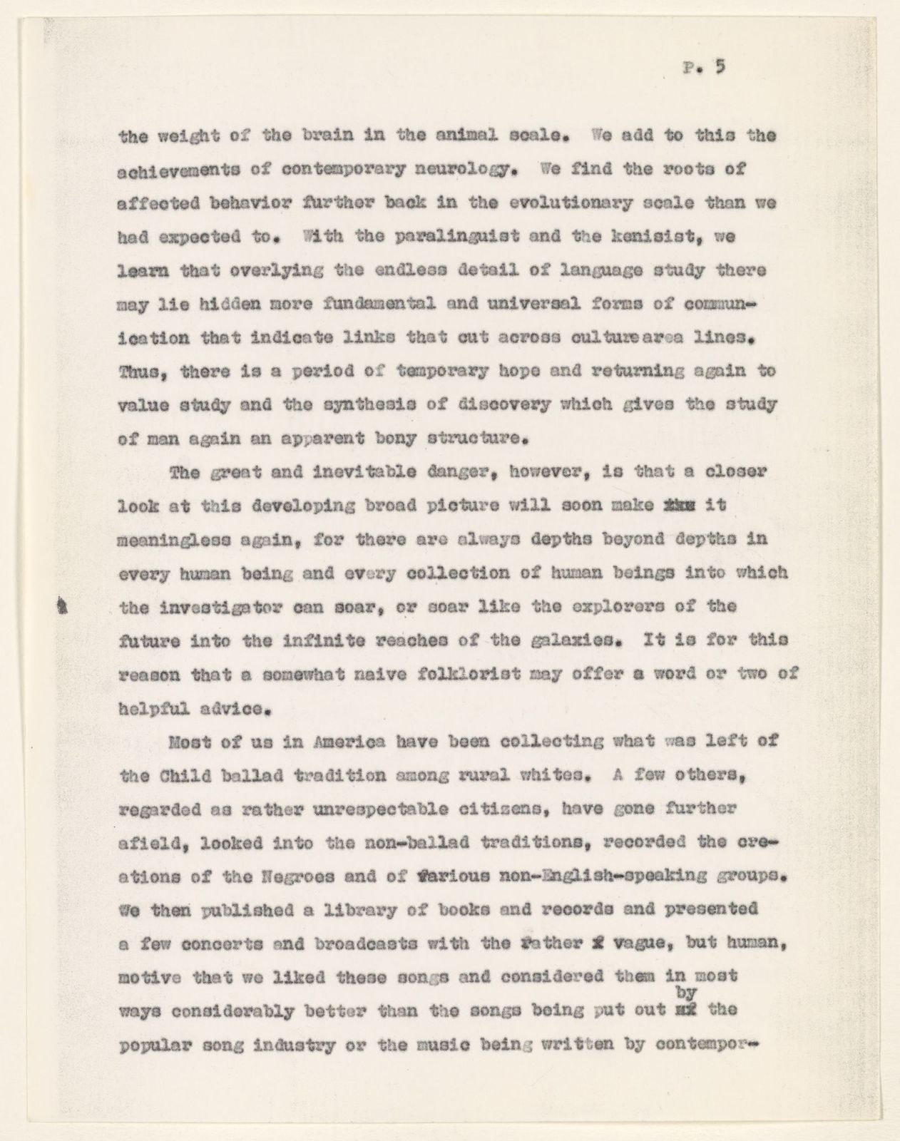 Alan Lomax Collection, Manuscripts, A Folklorist Looks at Cultural Anthropology