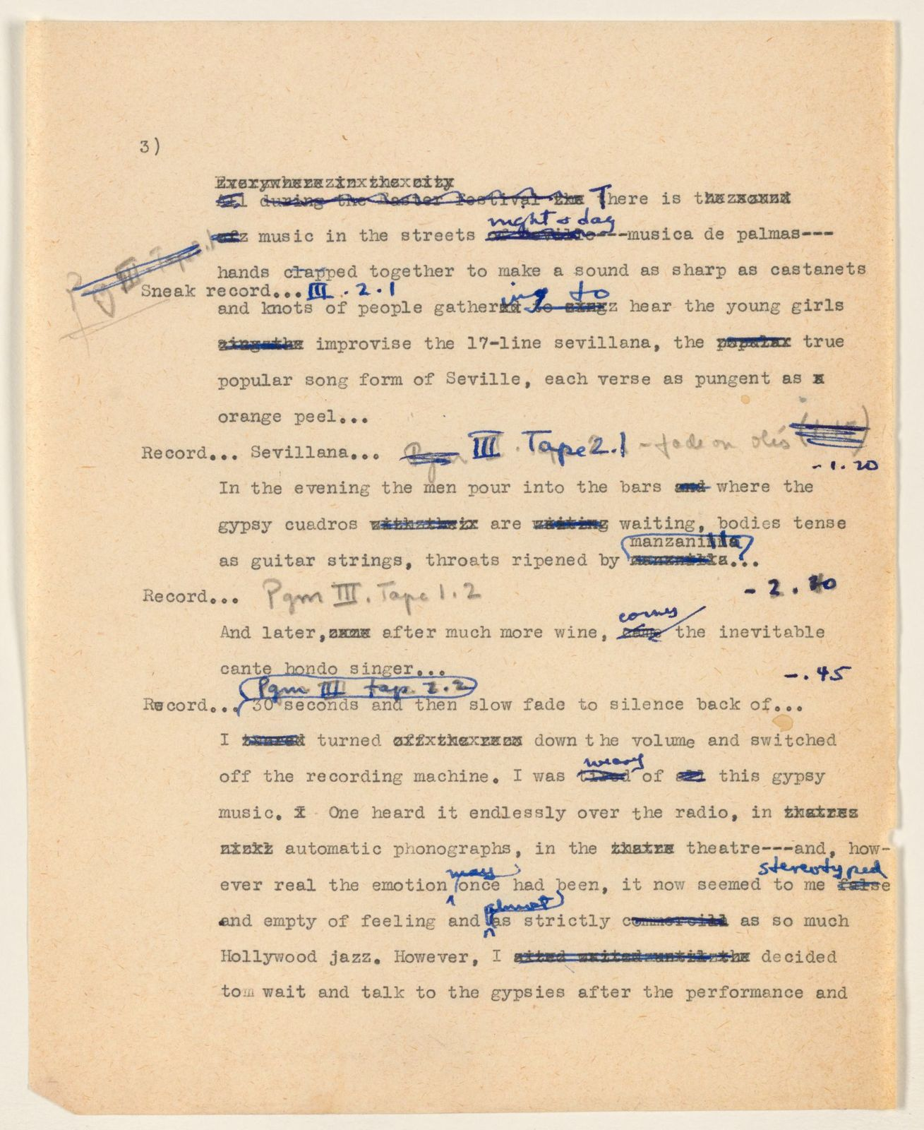 Alan Lomax Collection, Manuscripts, BBC, 195-, Spanish Folk