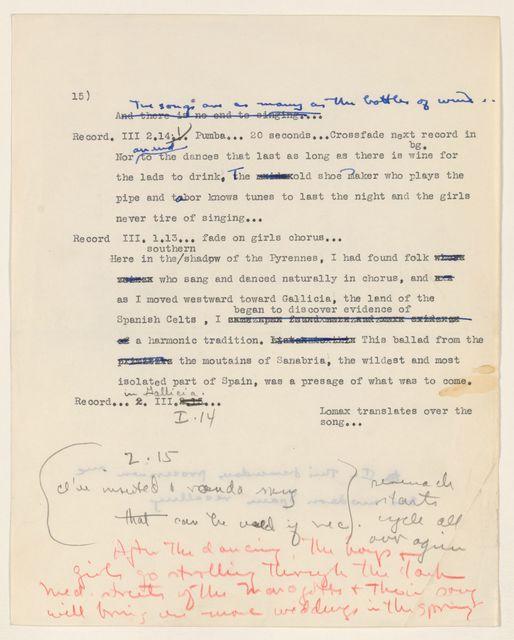 Alan Lomax Collection, Manuscripts, BBC, 195-, Spanish Folk Music, programs 1, 3-4 of 6