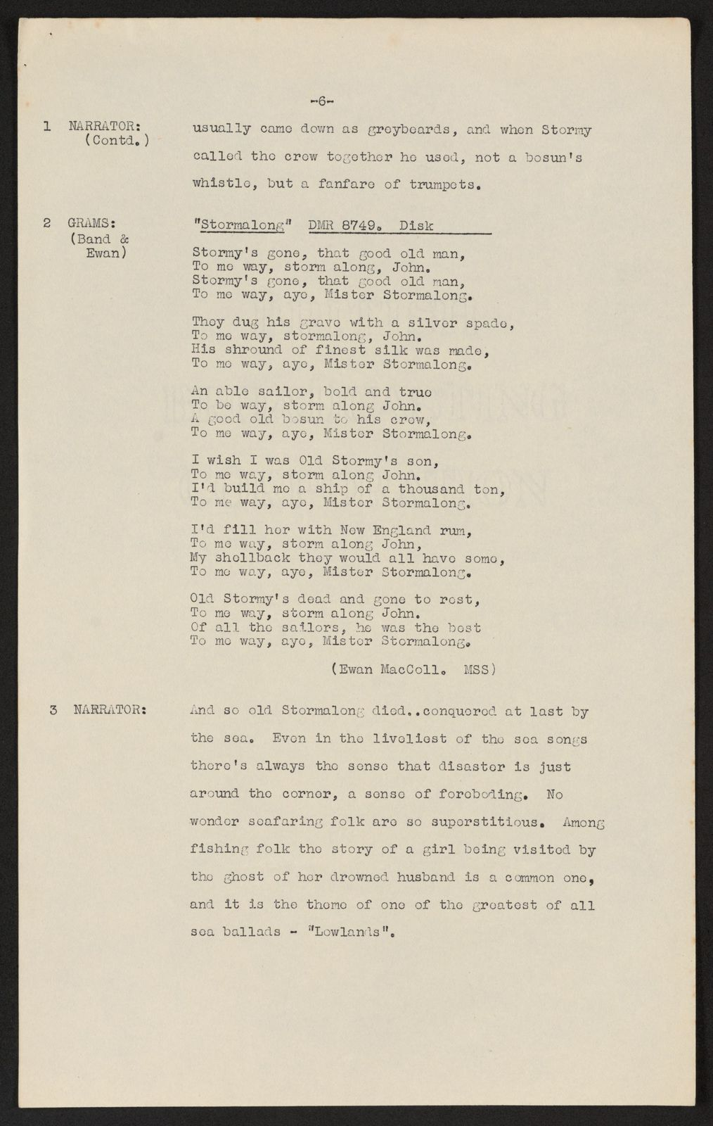 Alan Lomax Collection, Manuscripts, BBC, 1952-53, Ewan MacColl