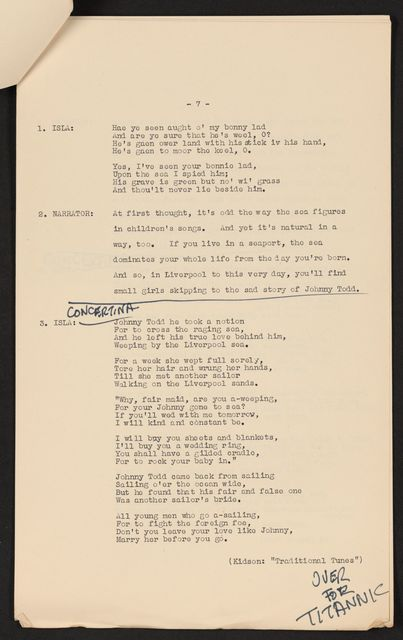 Alan Lomax Collection, Manuscripts, BBC, 1952-53, Ewan MacColl
