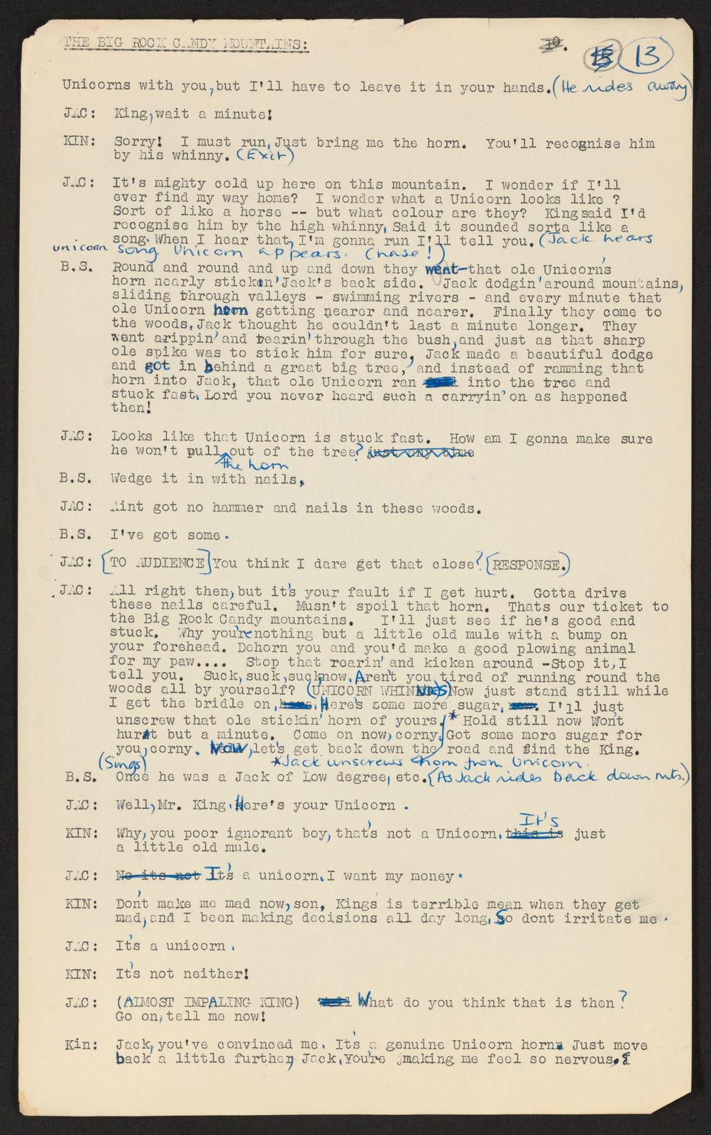 Alan Lomax Collection, Manuscripts, Big Rock Candy Mountain, 1953
