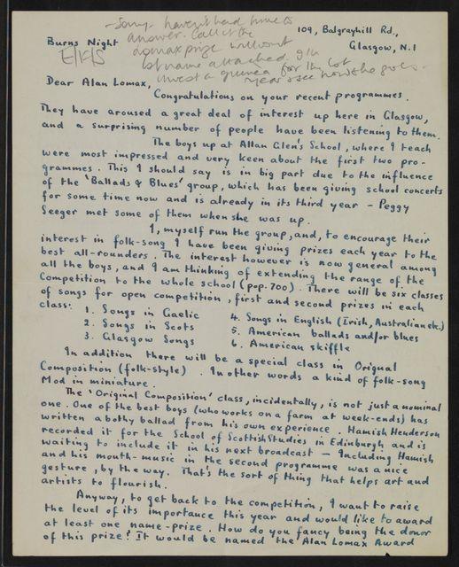 Alan Lomax Collection, Manuscripts, British Isles, 1950-1958
