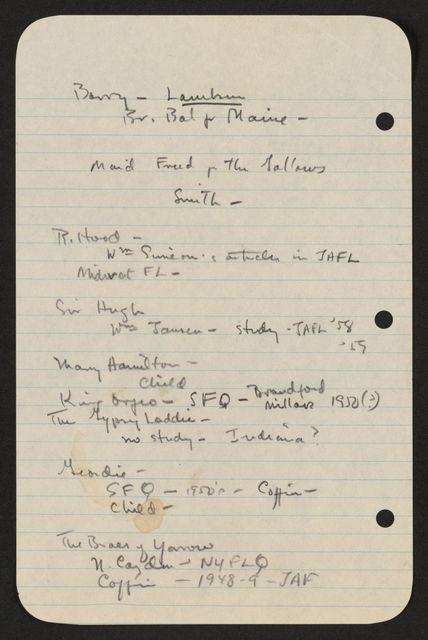 Alan Lomax Collection, Manuscripts, British Isles LP projects