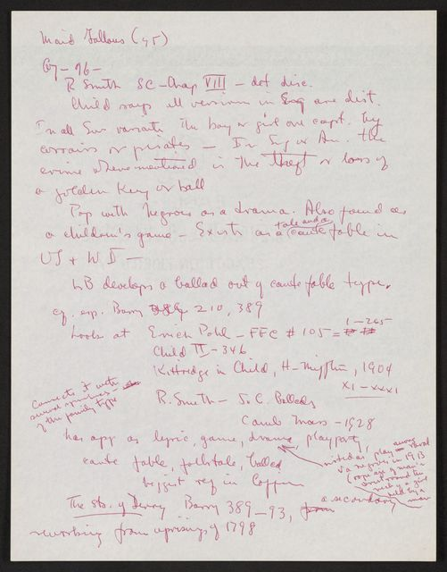 Alan Lomax Collection, Manuscripts, British Isles LP projects