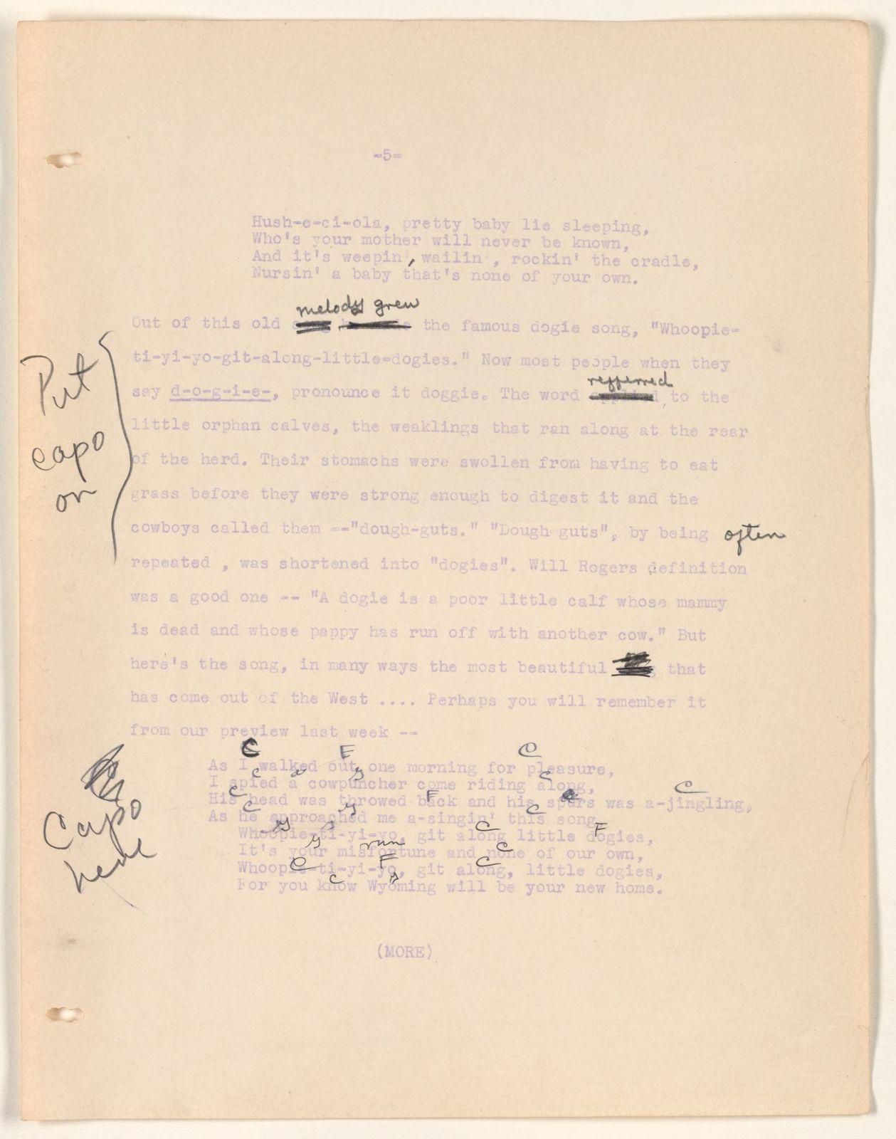 Alan Lomax Collection, Manuscripts, CBS, 1939-1940, American School