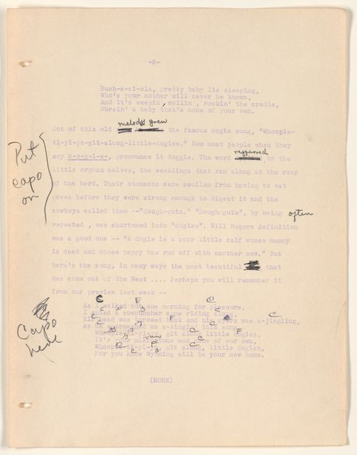 Alan Lomax Collection, Manuscripts, CBS, 1939-1940, American School of The Air, Folk Music of America