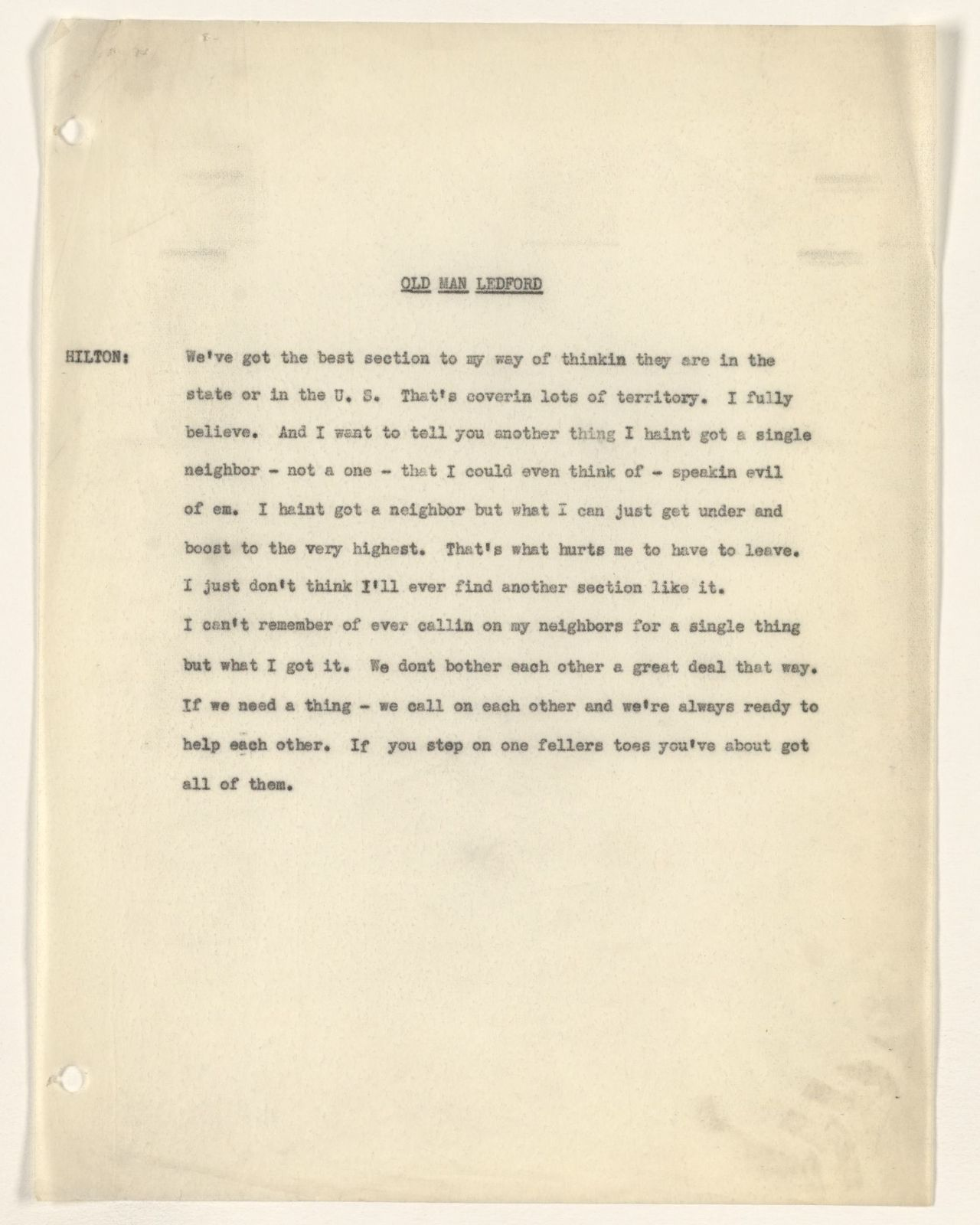 Alan Lomax Collection, Manuscripts, Eelsfoot, 1950s