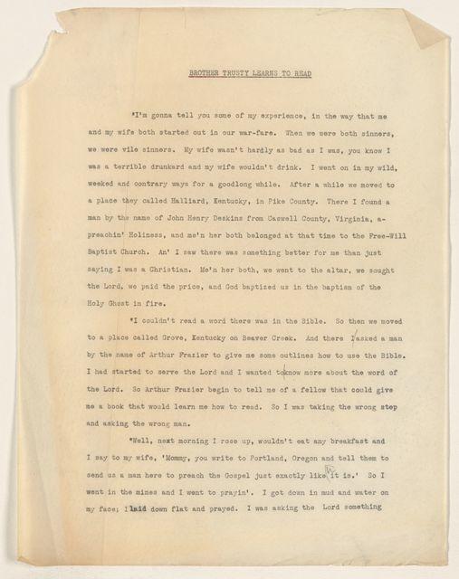 Alan Lomax Collection, Manuscripts, Folklore manuscripts, 1940-1980
