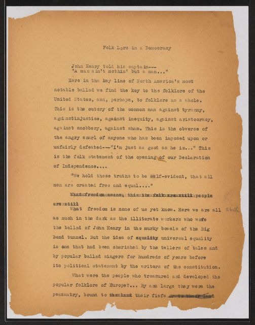 Alan Lomax Collection, Manuscripts, Folklore manuscripts
