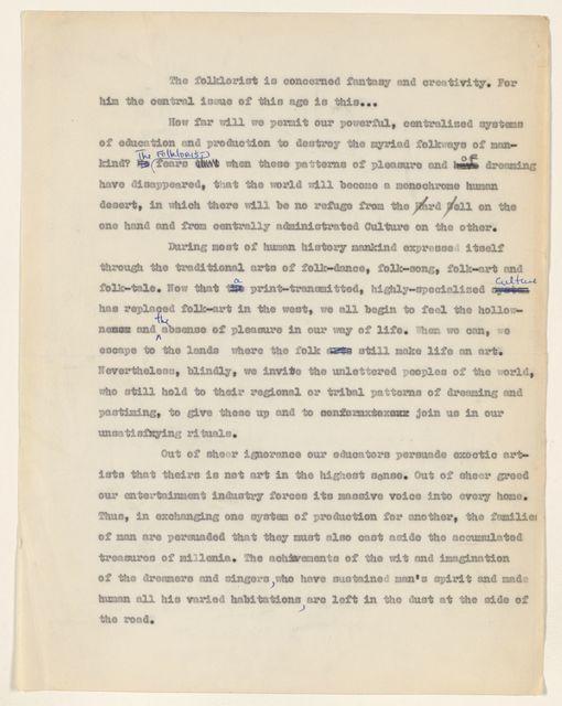 Alan Lomax Collection, Manuscripts, Folklore manuscripts
