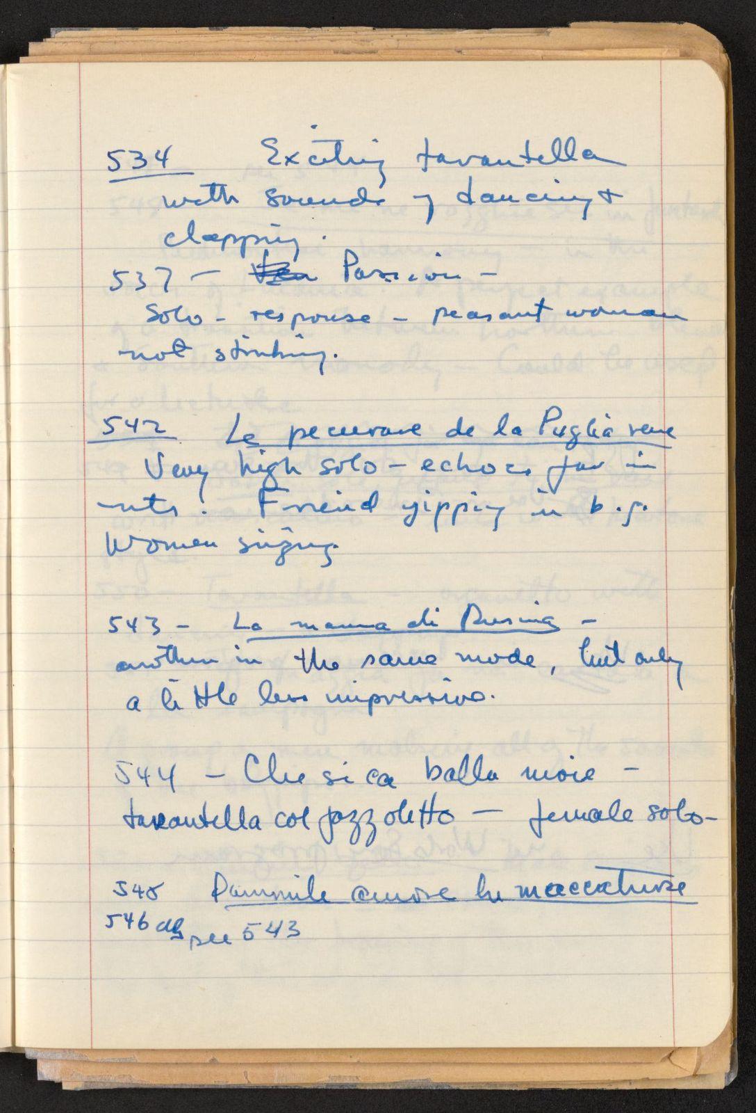 Alan Lomax Collection, Manuscripts, Italy, 1954-1955