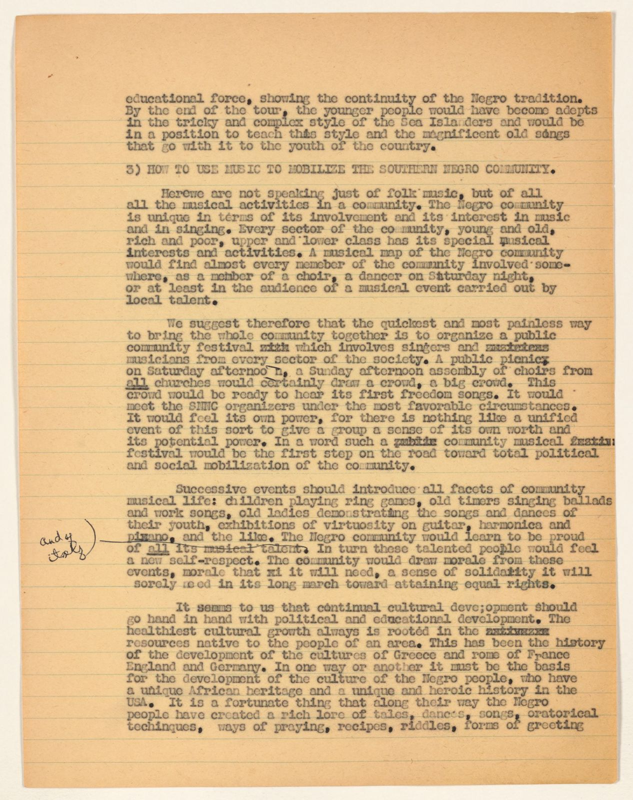 Alan Lomax Collection, Manuscripts, Negro Folk Songs and the Freedom Movement