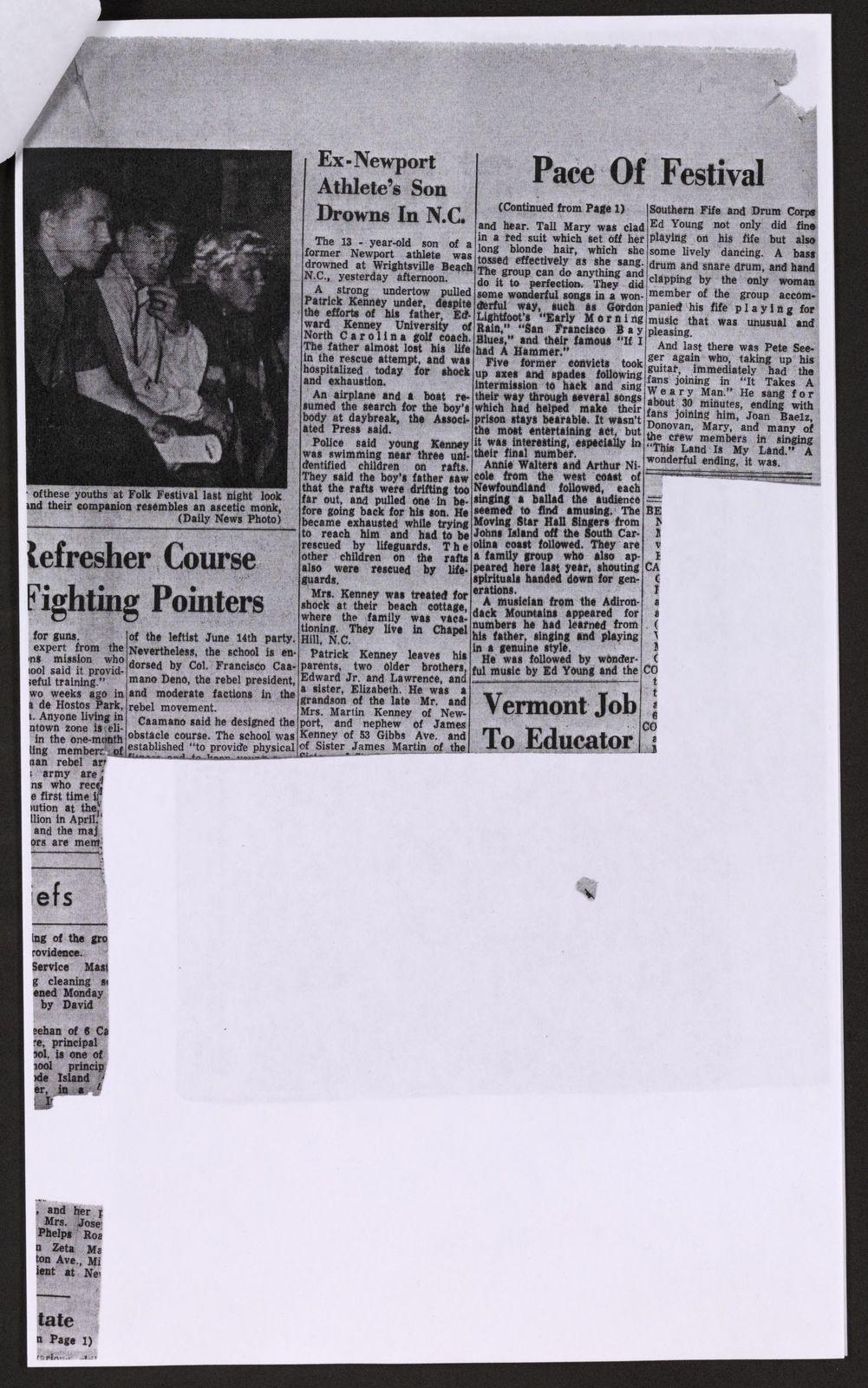 Alan Lomax Collection, Manuscripts, Newport Folk Foundation