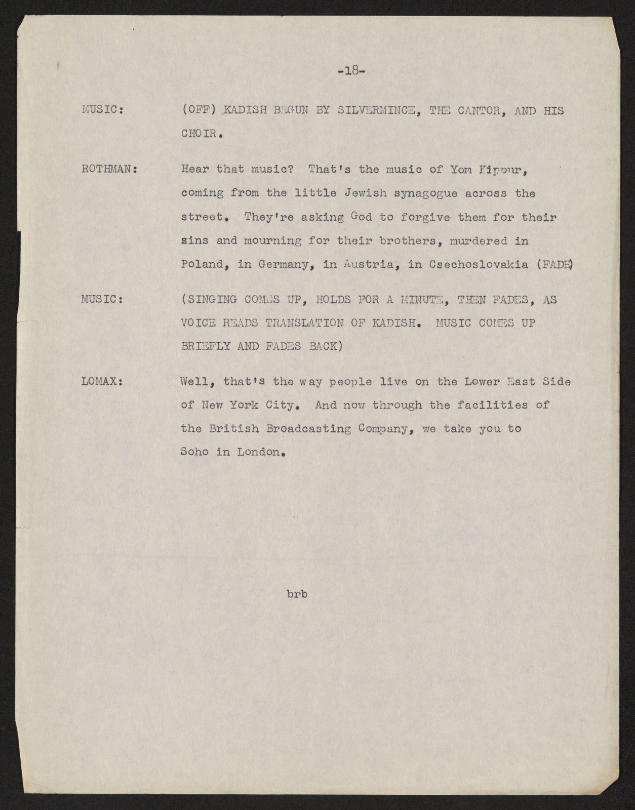 Alan Lomax Collection, Manuscripts, Radio network unknown