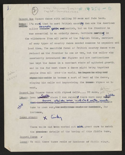 Alan Lomax Collection, Manuscripts, Radio network unknown