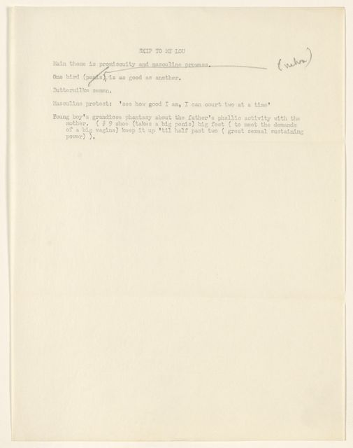 Alan Lomax Collection, Manuscripts, Textual Structural Analysis in folk songs