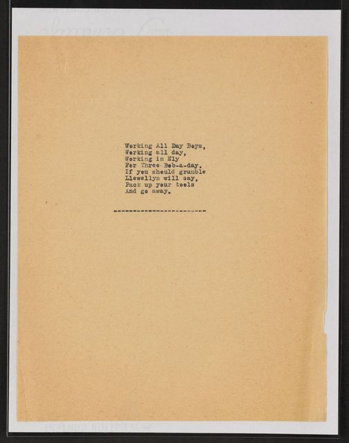 Alan Lomax Collection, Manuscripts, The Bonny Bunch of Roses, 1951-1954