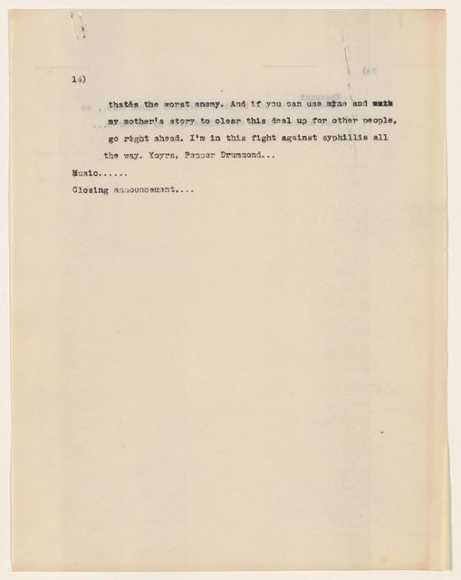 Alan Lomax Collection, Manuscripts, U.S. Department of Health and Columbia Communications Center, 1949-1950, VD radio project