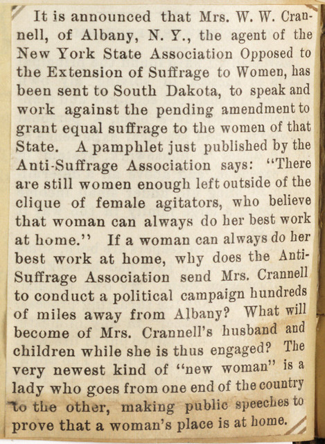 Albany anti-suffragist Mrs. W. W. Crannell, to campaign in South Dakota, arguing women's place is at home.