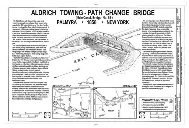 Aldrich Towing-Path Change Bridge, Spanning New York State Heritage Trail, Aqueduct Park (moved from Macedon, NY), Palmyra, Wayne County, NY