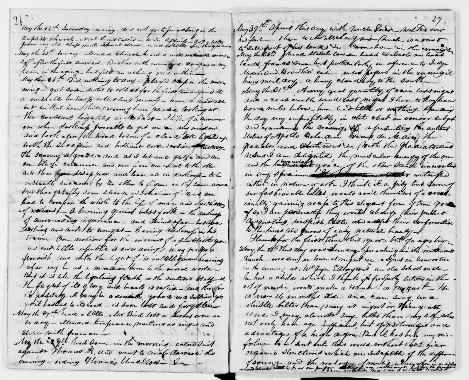Alexander Hamilton Stephens Papers: Autobiography and Journal, 1834-1837; Bound vol., 1834, Apr. 14-1837, Jan. 26