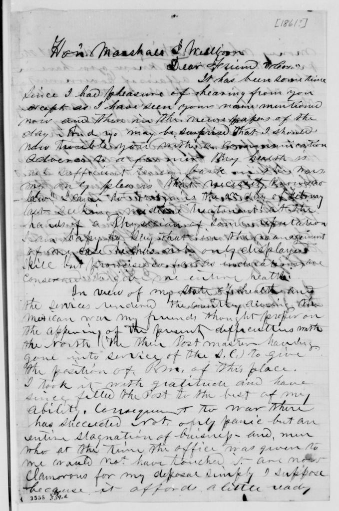 Alexander Hamilton Stephens Papers: General Correspondence, 1784-1886; 1861, Dec. 28-1862, Feb. 1