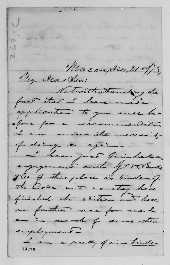 Alexander Hamilton Stephens Papers: General Correspondence, 1784-1886; 1873, Dec. 16-1874, Jan. 18