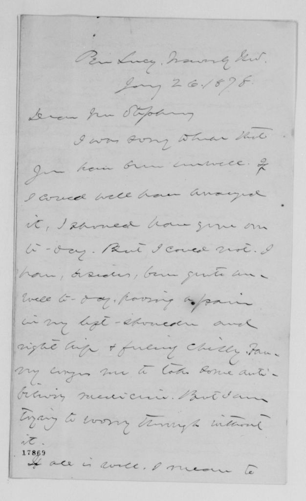 Alexander Hamilton Stephens Papers: General Correspondence, 1784-1886; 1877, Oct. 5-1878, June 10