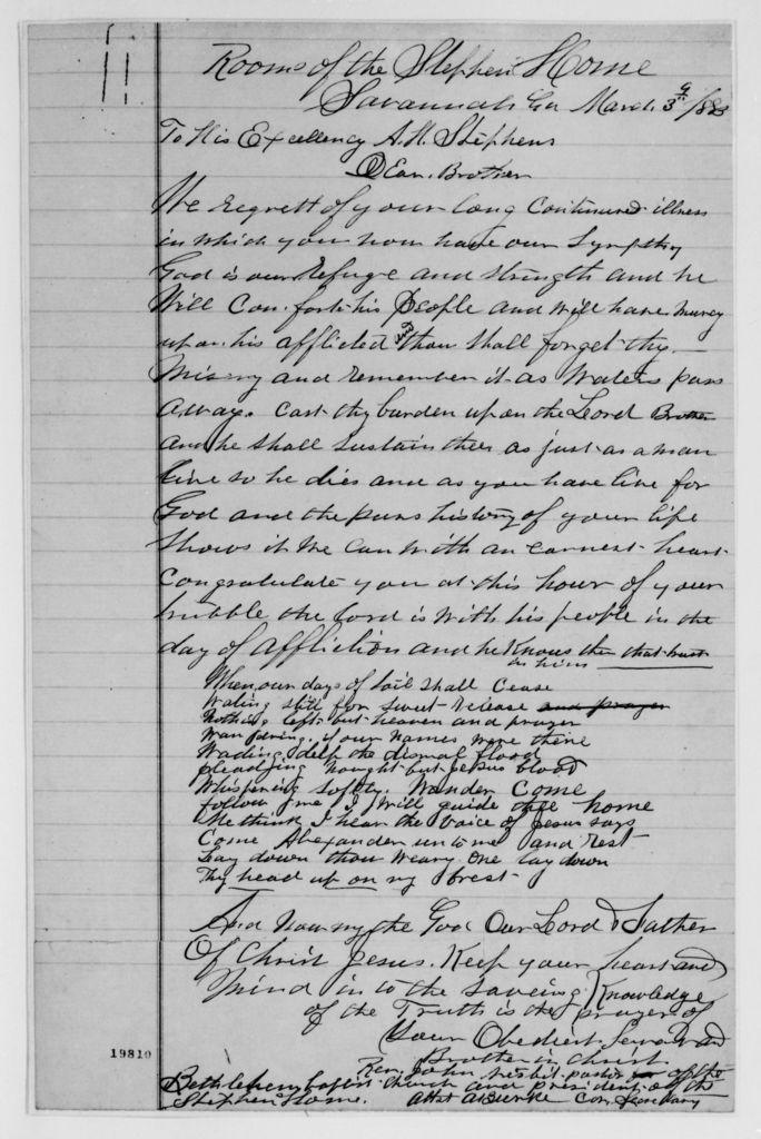 Alexander Hamilton Stephens Papers: General Correspondence, 1784-1886; 1883, Feb. 7-1886, Jan. 12