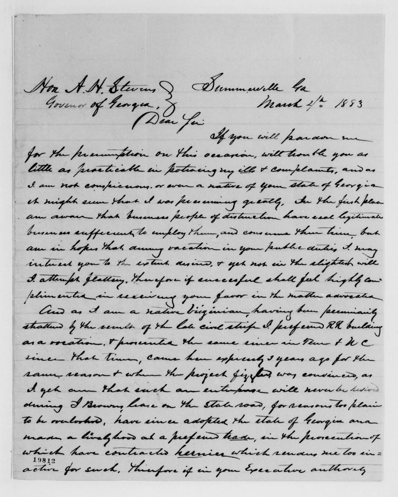 Alexander Hamilton Stephens Papers: General Correspondence, 1784-1886; 1883, Feb. 7-1886, Jan. 12
