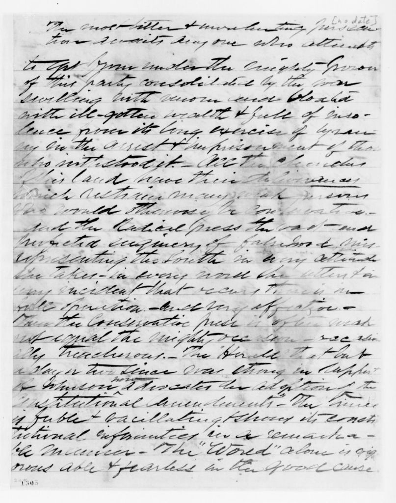 Alexander Hamilton Stephens Papers: General Correspondence, 1784-1886; Undated; A-B