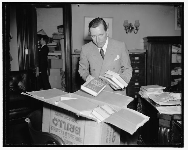 All over but November election. Washington, D.C., June 14. Forgetting Congressional worries and pointing for a victory in the November election, Senator Claude A. Pepper, Democrat of Florida, packs his belongings for a hasty departure to his home state as soon as Congress adjourns this week. He was victorious in the recent democratic primary, 6/14/38