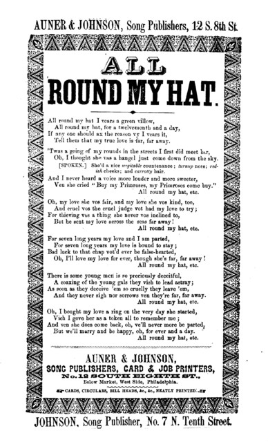 All round my hat. Johnson, Song Publisher, No. 7 N. Tenth Street