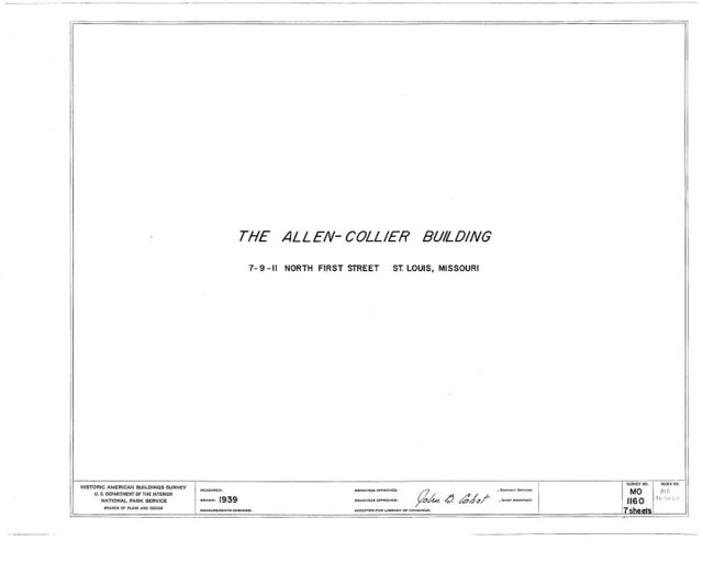 Allen-Collier Building, 7-11 North First Street, Saint Louis, Independent City, MO
