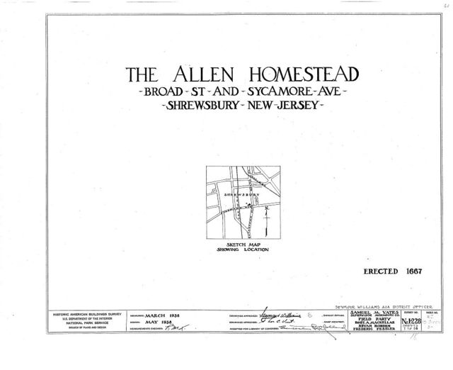 Allen Homestead, Broad Street & Sycamore Avenue, Shrewsbury, Monmouth County, NJ