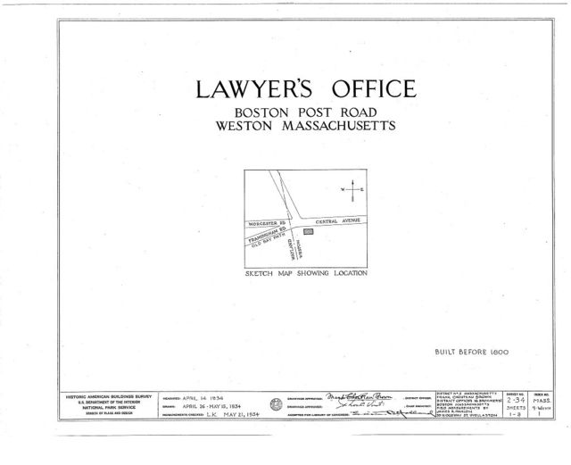 Alpheus Bigelow, Jr. Law Office, Central Avenue, Weston, Middlesex County, MA