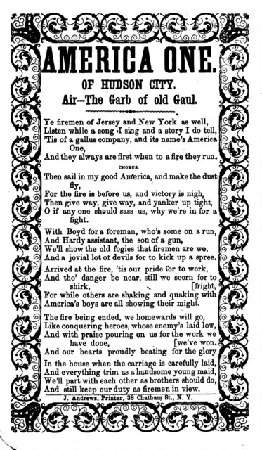 America One. Of Hudson City. Air--The Garb of old Gaul. J. Andrews, Printer, 38 Chatham St., N. Y