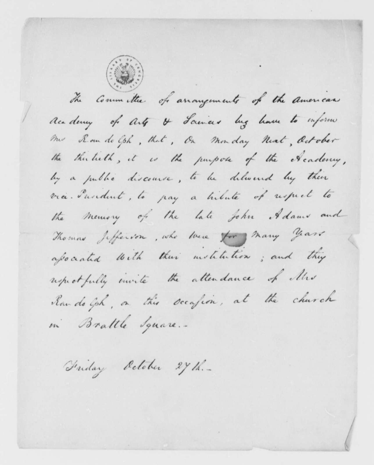 American Academy of Arts and Sciences to Martha Randolph, October 27, , Invitation to Tribute to Thomas Jefferson and John Adams