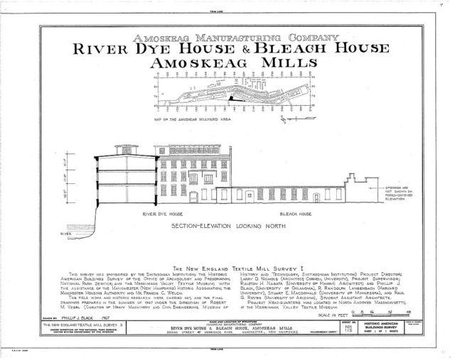 Amoskeag Mills, River Dye House & Bleach House, Bridge Street at Merrimack River, Manchester, Hillsborough County, NH