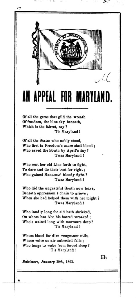 An appeal for Maryland. Baltimore, January 20th, 1862