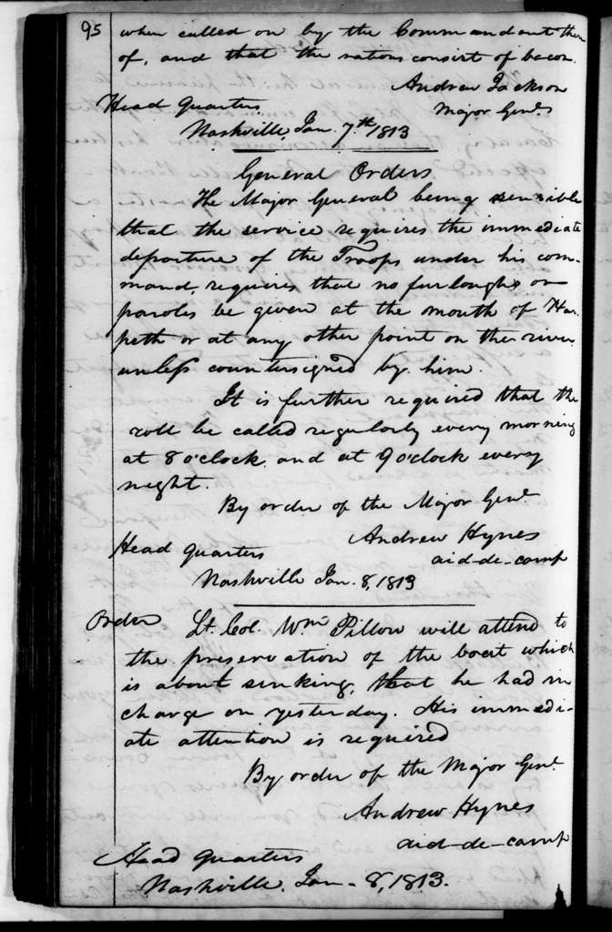 Andrew Jackson Letterbook Vol. B - Letters and Orders, July 1812 - March 1813