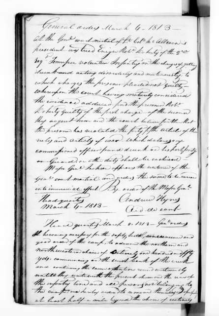 Andrew Jackson - Record Books - Jackson Order Book during the Creek Indian War, Florida, 1812-1813