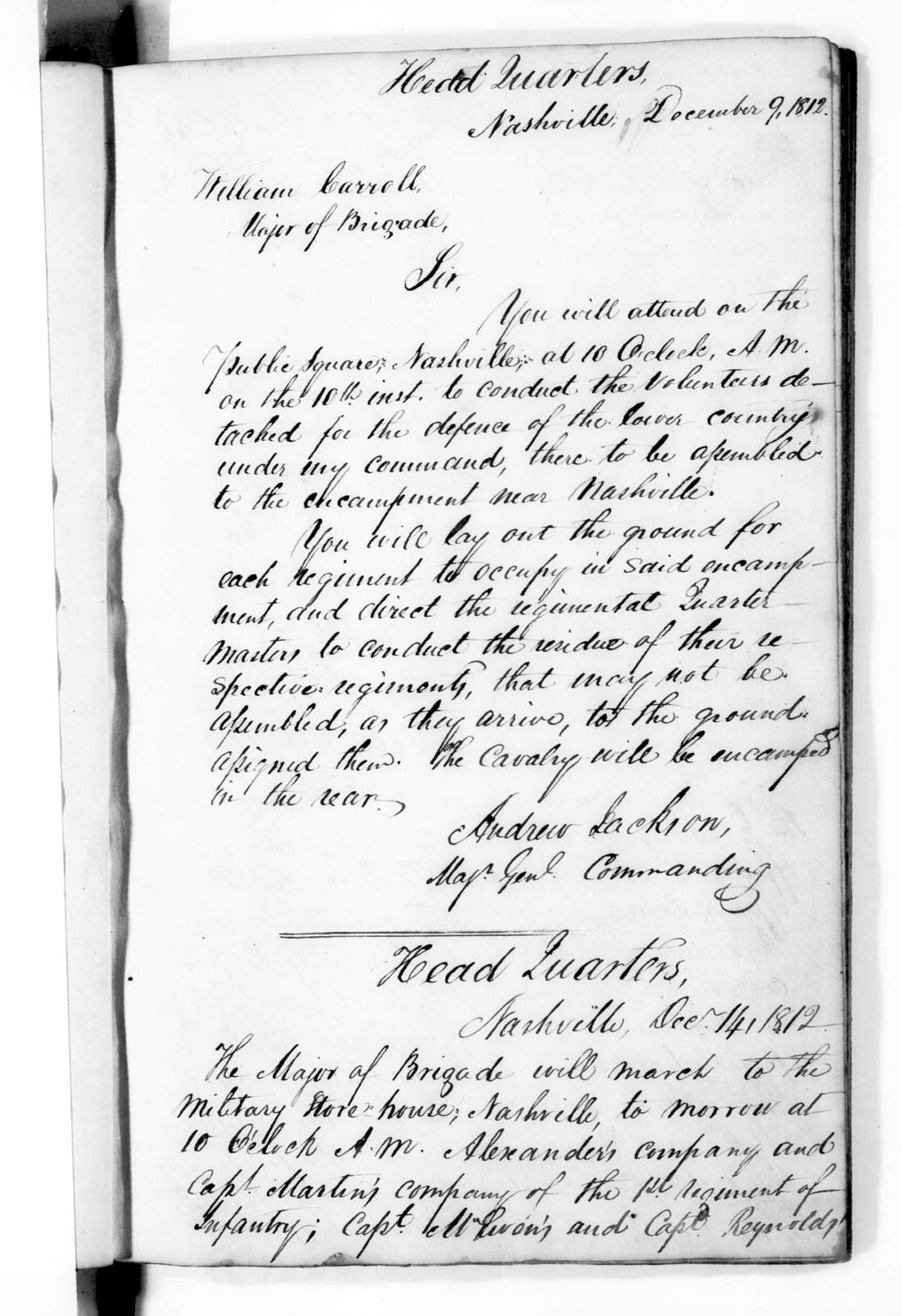 Andrew Jackson - Record Books - Jackson Order Book during