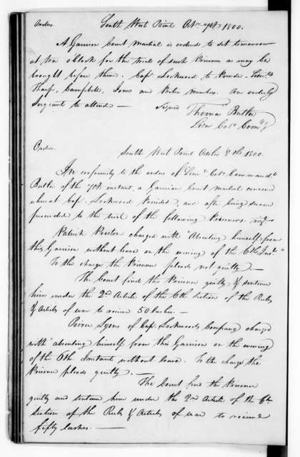 Andrew Jackson - Record Books - South West Point Army Headquarters Regimental Orders, April 23, 1800 to December 31, 1801